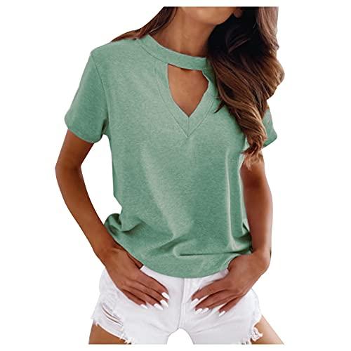 YANFANG Tallas Grandes Mujer Camisetas Manga Corta,Blusa De Camiseta con Cuello En V Ahuecada Color SóLido Verano para Mujer,Estilo Casual, Redondo, Sueltas, Blusas,Verde,S