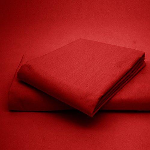 Entretien facile ; infroissable, uni en polycoton ; drap-housse/tour de lit et taies d'oreiller assorties disponibles., 50 % coton, 50 % polyester, Red, Double