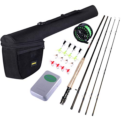 PLUSINNO Fly Fishing Rod and Reel Combo, 4 Piece Lightweight