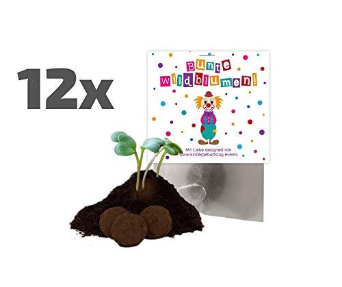 Ideenverlag 12x Clown Samenbomben als Mitgebsel zum Kindergeburtstag / Karnevalsparty / Seedbombs / Partytüten / Mitgebseltüten / Geschenktüten / Blumen / Give-aways / Kinder / Karneval / Saatkugeln
