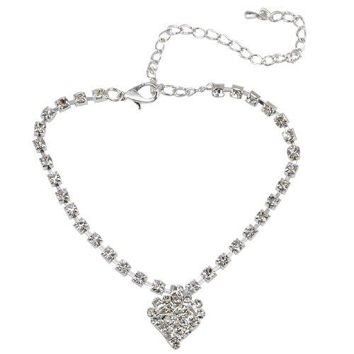 Popamazing Un'elegante cavigliera con diamanti, a forma di cuore, alla caviglia, colore: argento