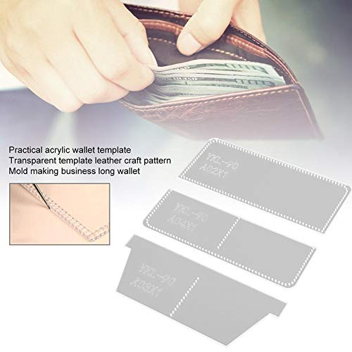 Acryl portemonnee sjabloon, transparante lange portemonnee templat, praktische DIY lederen ambachtelijke patroon model voor het maken van zakelijke lange portemonnee