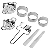 8 Pcs Dumpling Maker,Stainless Steel Ravioli Dumpling Mould Mold Press Set Kitchen Accessories(2 dumpling maker+ 1 dumpling cutter +3 dumpling skin cutter +2 x Stuffing spoon)