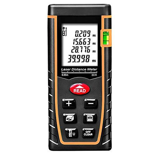 ARAS Laser Distance Meter 40m, Portable Handle Digital Measure Tool Range Finder with Bubble Level and Large Backlit LCD 4 Line Display(40m 131ft)