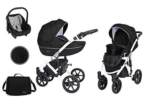 KUNERT Kinderwagen MILA Sportwagen Babywagen Autositz Babyschale Komplettset Kinder Wagen Set 3 in 1 (3in1, Schwarz, Rahmenfarbe: Weiß)