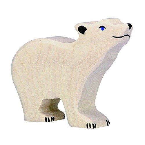 Holztiger Eisbär, klein, Kopf hoch, 80209