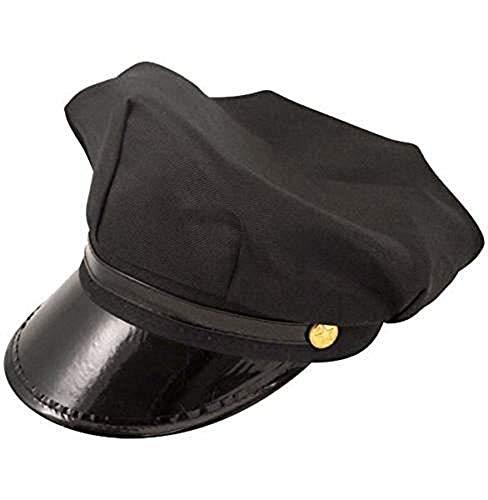 unisex Chófer Gorra DRIVERS policías y ladrones Puntiagudo Sombrero Accesorios de disfraz - chauffer Gorra Negro, One size