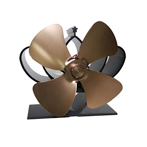 HOUSEHOLD Ventilador de Estufa de explosión Caliente, Ventilador de Chimenea de Horno eficiente y ecológico con Motor silencioso, Ventilador de Estufa de leña de inducción automática de 4 Pala