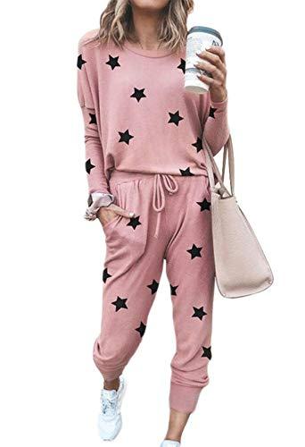 Viottiset Damen Jogginganzug Langarm Rundhals Einfarbig Bekleidungsset Mit Elastischem Bund Baby Pink S