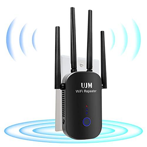 UJM WiFi Extender 1200Mbps Signal Booster Range Repeater,WiFi Range Extender 2.4 & 5GHz Dual Band,WiFi Extenders Signal Booster for Home, WiFi Extender with Ethernet Port