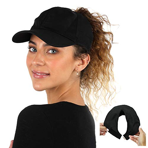 Ponyflo Active Ponytail Hat - Black - Ponytail Caps for Women Designed for Curly Hair