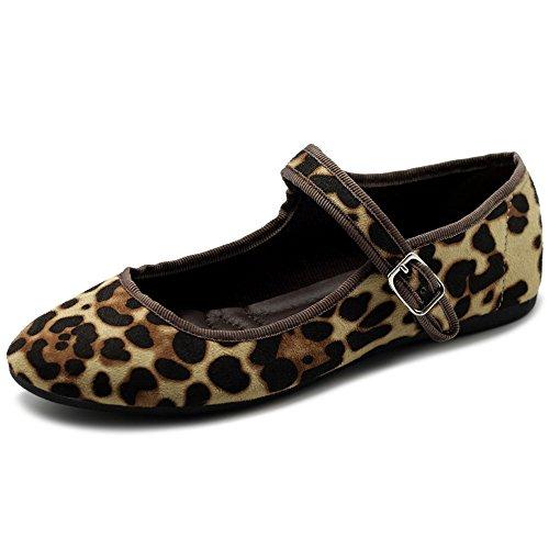 Ollio Women's Shoes Faux Suede Mary Jane Ballet Flat ZY00F56 (7 B(M) US, Leopard)