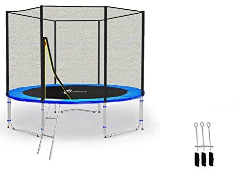 LifeStyle ProAktiv LS-T245-PA08 (BA) Garten- Trampolin 245cm - 8ft - (Blau) Extra Starkes Sicherheitnetz - 150kg Traglast