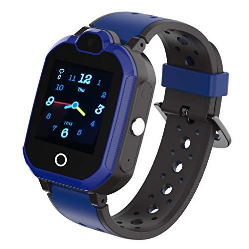 4G Wasserdicht Kinder Smartwatch Telefon Handy Uhr fur Kids mit Anti verlorener GPS WiFi LBS Ortung Tracker Videoanruf Rufen SOS Voice Chat Pedometer fur Madchen oder Jungen Blau