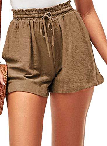 FOBEXISS Pantalones cortos de cintura elástica con cordón de color sólido para mujer