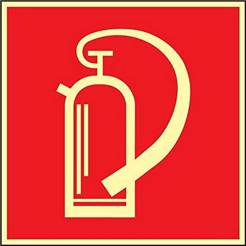 Folie Feuerlöscher 148x148mm rot/weiß nachleuchtend selbstklebend