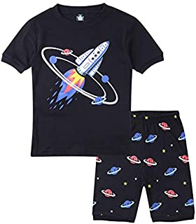 Image of 100% Cotton Glow in the Dark Space Rocket Pajama Shorts Sets for Boys and Toddler Boys - See More Prints