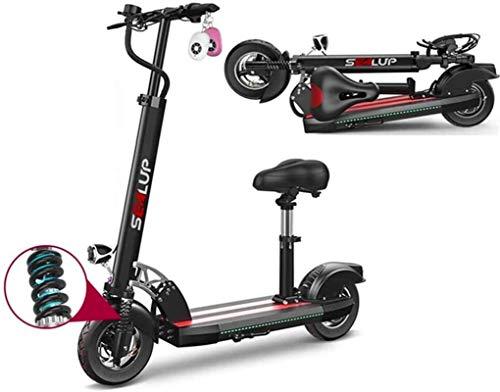 Bicicletas Eléctricas, Bicicletas eléctricas rápidas for adultos Kick Scooter eléctrico con asiento desmontable, 48V batería de litio 21AH, 500W sin escobillas del motor, a 100 km Alcance máximo, 10'