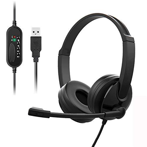 PC-Headset mit USB-Mikrofon, Geräuschreduzierung und Lautstärkeregler, Stereo-Kopfhörer mit Computer für Unternehmen, Skype, Webinar, Büro, Spiele und Musik