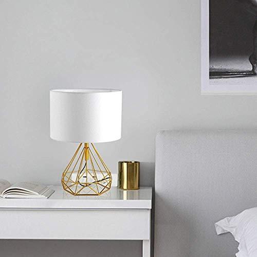 VIWIV Lámpara de mesa moderna para dormitorio, lámpara de mesa industrial de metal rombóbico con base de jaula, pantalla blanca, lámpara simple y moderna para sala de estar, dormitorio (color: oro)