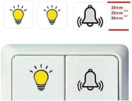 Generisch 3 Stück Schalter Aufkleber Licht Glocke Symbol Schalteraufkleber R25 2 25 X25 Mm Auto