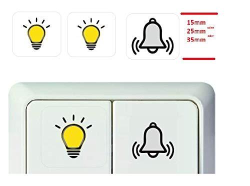 Generisch 3 Stück Schalter Aufkleber Licht Glocke Symbol Schalteraufkleber (R25/2) (25 x25 mm)