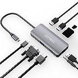 Yeeliya 9 en 1 USB tipo C Hub adaptador con 4K HDMI/VGA puerto, 3 puertos USB 3.0, SD y Micro SD, puerto de audio de 3,5 mm, carga PD para Macbook/Pro Huawei Matebook Samsung