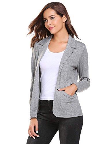 Damen Blazer Cardigan Kurzjacke Lange Arm tailliert mit Taschen, Grau - XL