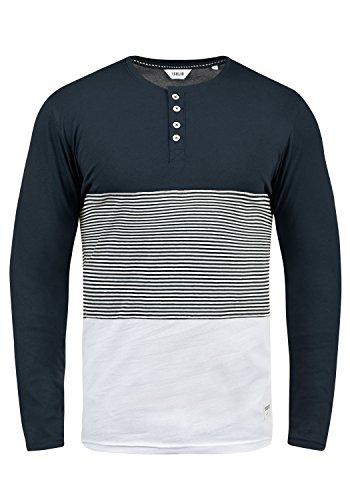 !Solid Marte Herren Longsleeve Langarmshirt Shirt Mit Muster Und Grandad-Kragen, Größe:L, Farbe:Insignia Blue (1991)