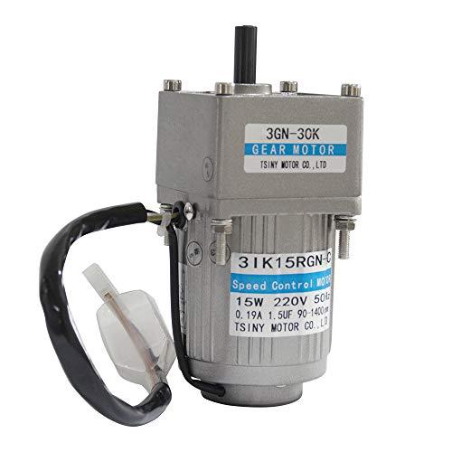 Bemonoc 15W 110V 50/60HZ Low Rpm 15rpm High Torque AC Gear Reducer Motor Shaft Diameter 10mm & AC Speed Controller Kits CW CCW for Mask Machine