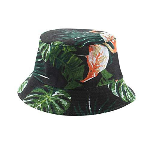 ZHENQIUFA Emmer hoed visser mannen vrouwen bloemenprint opvouwbare anti-zonnebrand emmer zonnehoed strandhoed platte hoed