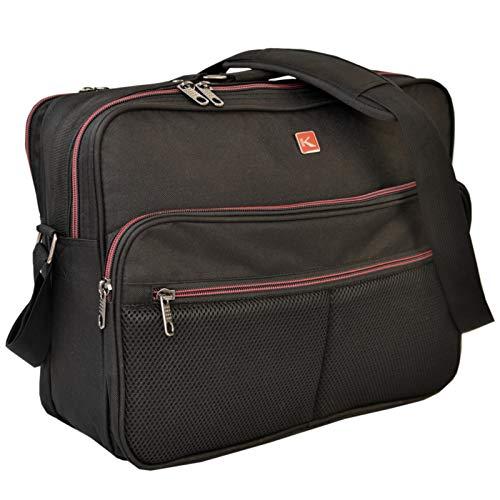 KEANU TOP hochwertiger Flugbegleiter Umhängetasche :: 2 DIN A4 Fächer (Ordner passt) 2 Vordertaschen Qualität :: Arbeitstasche Herrentasche im Hochformat oder Querformat (Schwarz - Querformat)