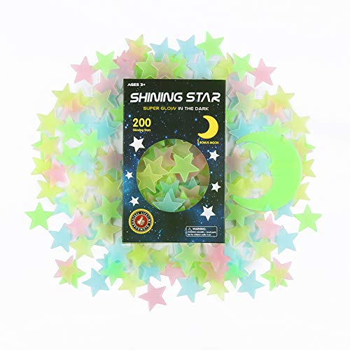 Glow in The Dark Stars Stickers for Ceiling, Adhesive 200pcs 3D Glowing Stars and Moon for Kids Bedroom,Luminous Stars Stickers Create a Realistic Starry Sky,Room Decor,Wall Stickers