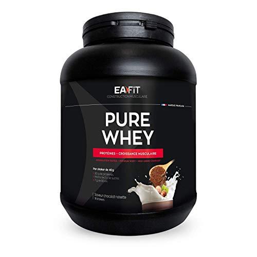 EAFIT Pure Whey - Chocolat Noisette 750g - Croissance Musculaire - Protéines de Whey - Assimilation Rapide - Acides Aminés et des Enzymes Digestives - Complexe High Amino - Certifié Anti-Dopage
