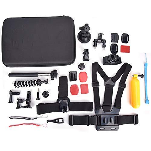 Kit di accessori per action cam portatile universale 15 in 1, staffa per cintura toracica Selfie stick con staffa per manico da bici, per bicicletta, ciclismo, sci, canottaggio, escursionismo