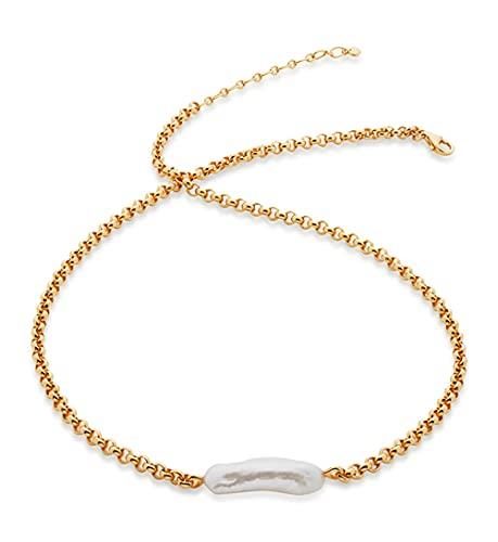 Collar con colgante de perlas irregulares chapado en oro de 18 quilates delicado vintage Y2k gargantilla collar mujeres niñas joyas de verano