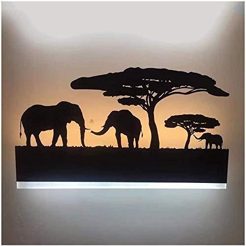 GYPPG Lámpara de Pared LED Creativa para habitación de niños, lámpara de Pared de acrílico de Hierro, diseño de Elefante, Aplique de 14 W para decoración del hogar, Dormitorio, Sala de Estar, niño