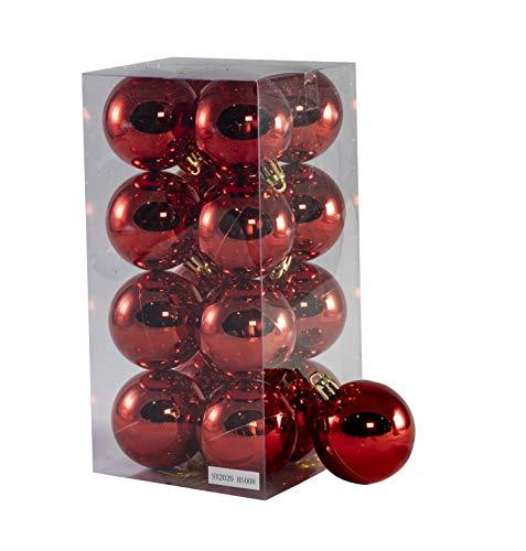 Arcoiris® Bolas de Navidad Multicolor, 16 Unidades de 5cm, Navidad Bolas para el árbol de Navidad, para Vacaciones, Bodas, Fiestas, Decoración de Regalos, Varios tamaños (16pcs - 5cm, Rojo)