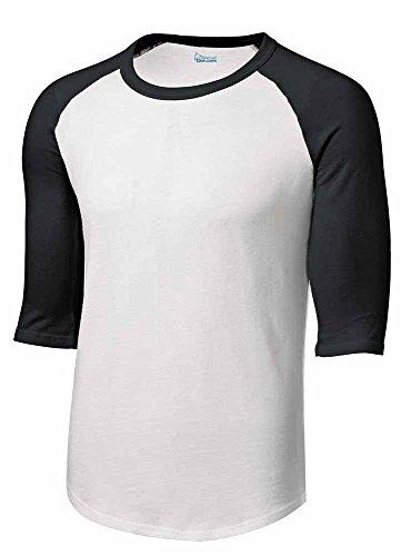 Animal Den Boys Baseball Jersey Shirt Uniform 3/4 Sleeve Youth Raglan & Girls Softball White/Black