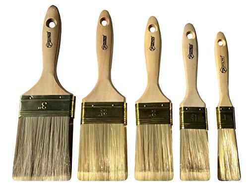 Set of 5 Polax Premium Paint Brushes - Long Bristle/Wood Handle - for Acrylic, Chalk, Oil Based,...