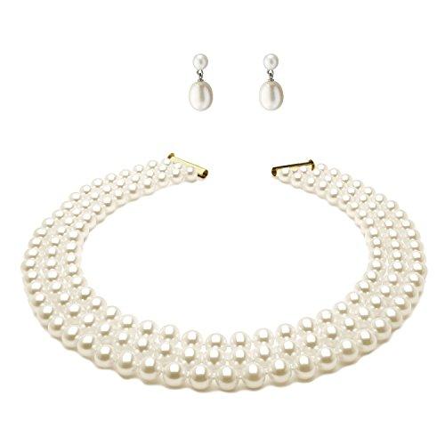 Anderson & Webb - Schmuckset aus dreireihiger weißer Perlenkette (45 cm) aus Silber & Ohrringe mit weißen Perlen in Tropfenform