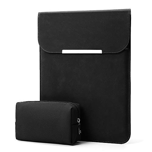 KALIDI 13.3 inch Laptop Sleeve Case Faux Suede Leather for MacBook Air/13 inch MacBook Pro Retina 2017 2016,MacBook 13-13.5 inches + Accessories Pouch,Black
