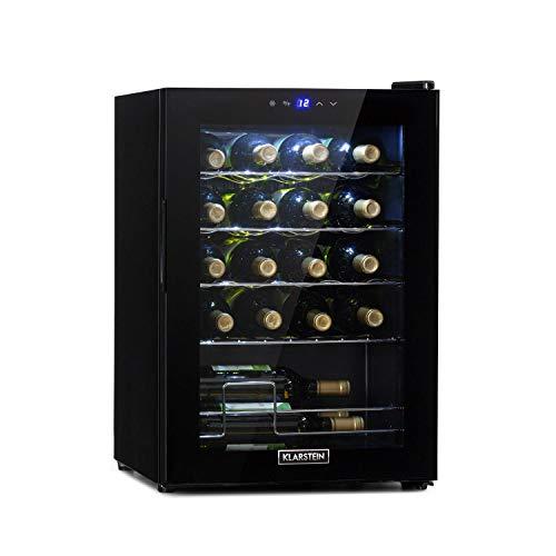 KLARSTEIN Shiraz Uno - Frigorifero Vini, Cantinetta, Frigo Vino, Temperature: 5-18 °C, 42 dB, Pannello Soft-Touch, 4 Ripiani, per 20 Bottiglie, Volume: 53 Litri, Nero