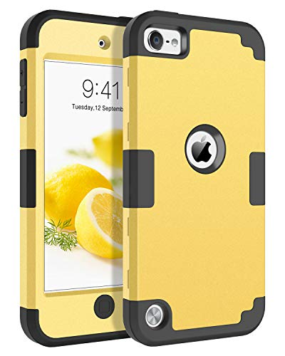 iPod Touch 7 Case iPod Touch 6 Case BENTOBEN 3 in 1 Hybrid Hard PC Soft Rubber Heavy Duty Rugged Bumper Shockproof Anti Slip Protective Cover for Apple iPod Touch 5/6/7th Generation Yellow Lemon