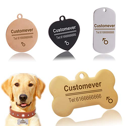 AEAP Custom Dog Tags in Rose Gold Silver or Black Engraved Stainless Steel Pet ID Cat Tag Name Dog Bone Personalized Dog Collar Tag