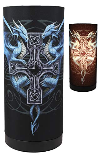 Ebros Gift 11' Tall Anne Stokes Gothic Blue Dragon Duo Celtic Cross Table Column Shade Lamp Desktop Countertop Lighting Accent Decorative Light