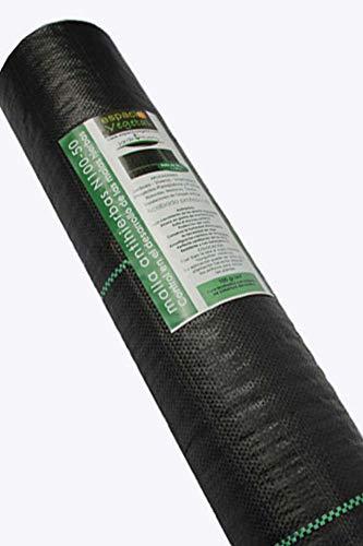 Malla antihierbas 100gr, 50m², para el control en el desarrollo de las malas hierbas. Presentación en rollo.