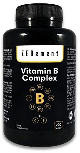 Vitamine B-complex omvat de acht essentiële B-vitamines (B1, B2, B3, B5, B6, B12, biotine en foliumzuur) en vitamine C en E, 200 Capsules | Om energie, stemming en de algemene gezondheid te verbeteren | van Zenement