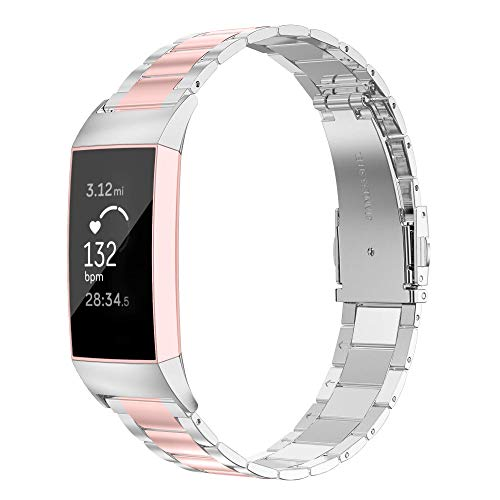 Wearlizer Stainless Steel Band Compatible for Fitbit Charge 3 Bands/Fitbit Charge 4 Bands Women Men,Ultra-Thin Lightweight Replacement Band Strap Wristbands for Fitbit Charge 3 (Rosegold+Silver)
