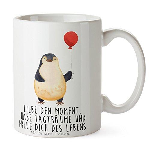Mr. & Mrs. Panda Tee, Büro, Tasse Pinguin Luftballon mit Spruch - Farbe Weiß